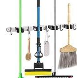 Besenhalterung Wand, Gerätehalter Edelstahl Besenhalter mit 4 Schnellspannern und 5 Haken für Mopp, Besen und Gartenwerkzeug