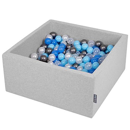 KiddyMoon 90X40cm/200 Balles ∅ 7Cm Carré Piscine À Balles pour Bébé Fabriqué en UE, Gris Clair: Perle/Bleu-Babyblue/Transparent/Argent