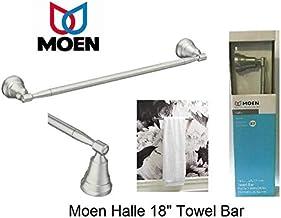"Moen Halle 18"" Inch Brushed Nickel Wall Mount Towel Bar with Spot Resist"