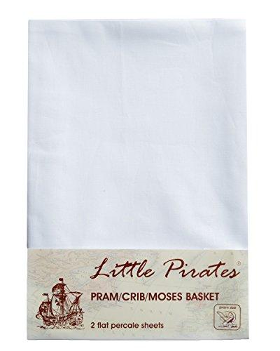 2 x Baby Pram/Crib/Moses Basket Flat Sheet 100% Cotton White
