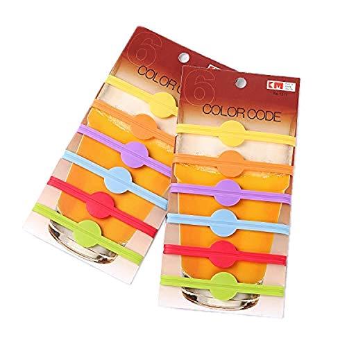 Qiajie 12 Stück Glas Silikon Bunte Markierungen Bierglas Cup Weinglasflasche Streifen Tag Marker für Home Bar-Party