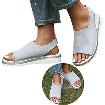 Clearance! Swiusd Women s Girls Comfy Mesh Hollow Sport Sandals Flat Bottom Open Toe Slingback Elastic Strap Sneakers Sandals  Gray 7 .5 M US