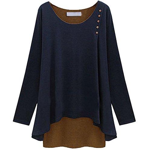 POPLINE Femme Tee-Shirt Casual Lache Grande Taille Tops Bouton Decoration Bleu Marine FR 36/CN M