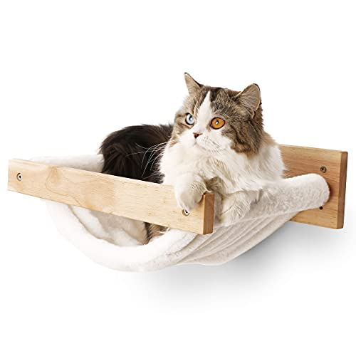 FUKUMARU Cat Hammock Wall Mounted Large Cats Shelf - Modern Beds and Perches - Premium Kitty Furniture for Sleeping, Playing, Climbing, and Lounging - Easily Holds up to 40 lbs, White Flannel