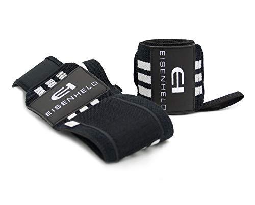 EISENHELD - Handgelenkbandagen: 2X Handgelenkbandagen/Wrist Wraps 45cm für Krafttraining, Bodybuilding, Fitness und Crossfit. Stabilisierend und schützend bei hohen Gewichten. In gratis Tasche