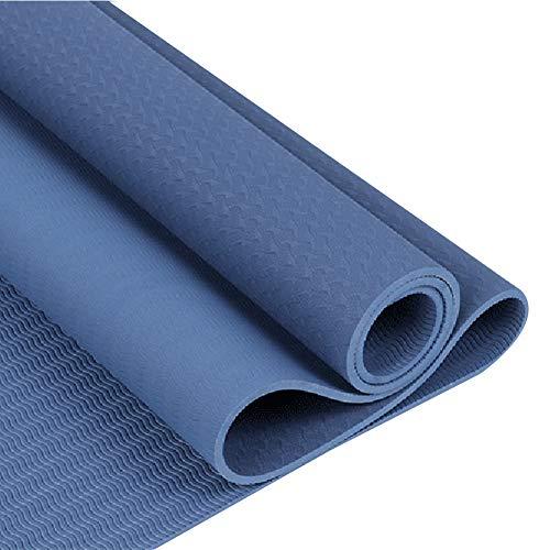 RIsxfh122 Color Sólido Gimnasio En Casa Fitness Ejercicio Entrenamiento Antideslizante TPE Yoga Mat Cojín Alfombra Toalla Manta Antideslizante Fitness Mat Azul Oscuro