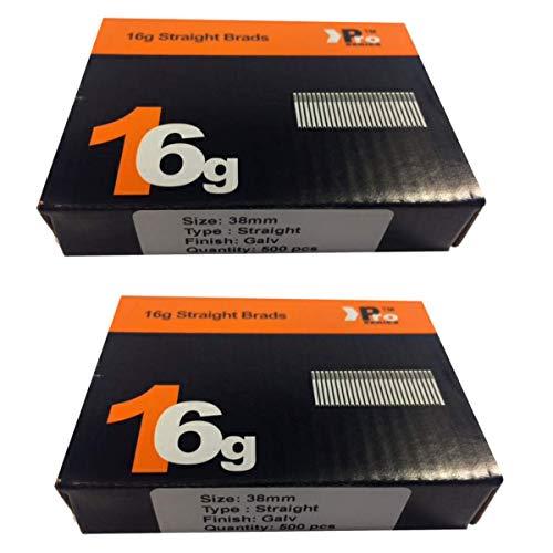 (2x 500) 1000Nail–Größe 38mm 16g Gerade–Für Dewalt, PASLODE, Hitachi ((2x 500) 38mm)