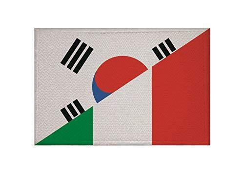 U24 Aufnäher Süd Korea-Italien Fahne Flagge Aufbügler Patch 9 x 6 cm
