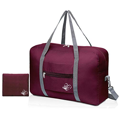 FUNFEL Foldable Travel Duffel Bag Tote Carry on Luggage Sports Water Resistant Nylon (Ⅲ-Wine Red)