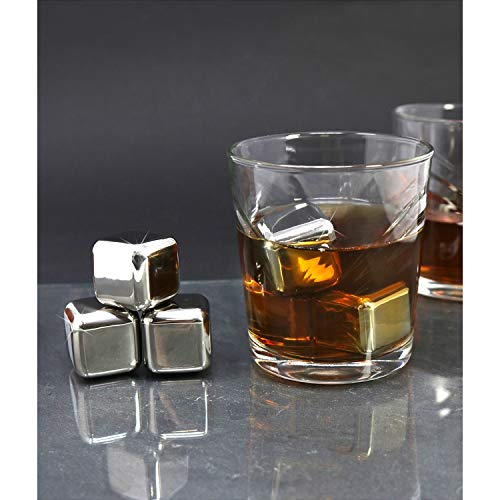 com-four® 18x Edelstahl-Eiswürfel, hochwertige Whisky-Steine, wiederverwendbare Eiswürfelform, Kühlsteine für Whiskey, Wein, Gin & Tonic-Getränke (18 Stück) - 4