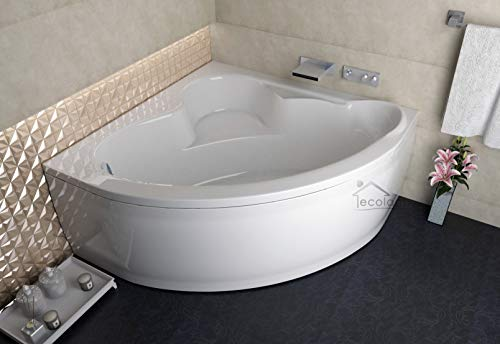 ECOLAM symmetrische Badewanne Eckbadewanne Standard Acryl weiß 120x120 cm + Schürze Ablaufgarnitur Ab- und Überlauf Automatik Füße Silikon Komplett-Set (120 x 120 cm)