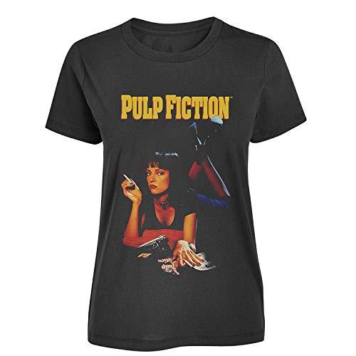 Pulp Fiction – klassisches Poster – Offizielles Damen-T-Shirt Gr. Large, Schwarz