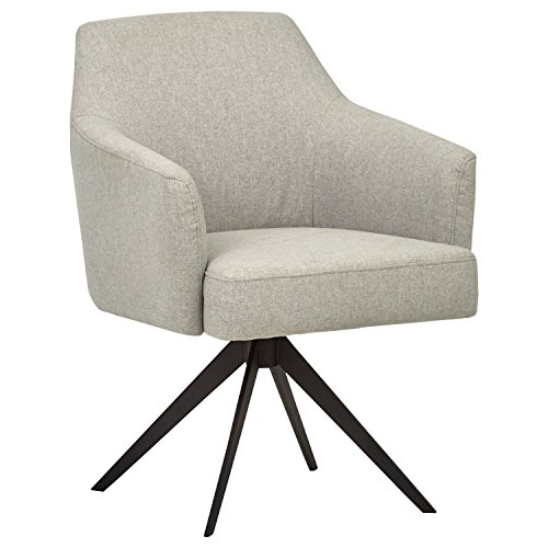 "Rivet Mid-Century Swope Curved Arm Swivel Office Chair, 26"" W, Felt Grey"