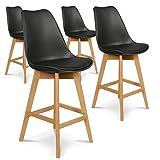 INTENSEDECO Lot de 4 chaises Hautes Style scandinave Catherina Noir - H65cm