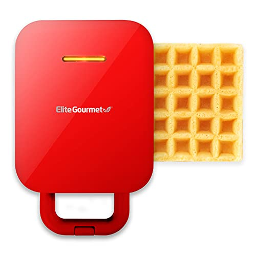 Elite Gourmet EWM1500R Electric 3-in-1 Nonstick 1-Inch Thick Belgian Waffle & Grill/Sandwich Maker, Removable Plates Easy to Clean, Paninis, Snacks, Burgers and more, Single, Red