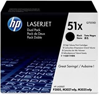 HP Q7551XD 51X LaserJet M3027 M3035 P3005 Toner Cartridge (Black 2-Pack) in Retail Packaging