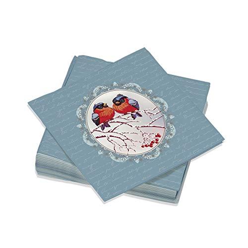 Le Nappage - Serviettes de Table Décorées Médaillon - Serviettes Papier en Pure Ouate de Cellulose - Décor Noël - Lot de 20 Serviettes Format 33 x 33 cm