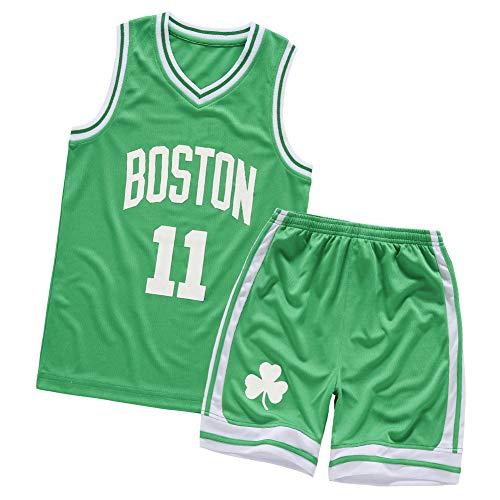 Kyrie Irving Basketball Trikots für Kinder Boston Celtics 11# Casual Sports Fan Polo-Shirts, Schweiß Wicking Schnelltrocknend 2 Stück Fitness Kleidung Grün L farbe