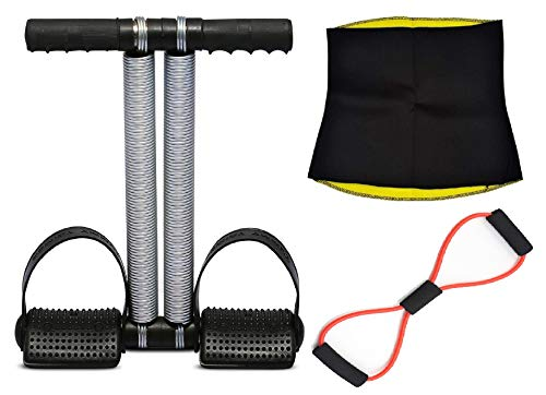 Sidhmart Tummy Trimmer and Resistance Band and Hot Shaper Belt Perfect Combo Abdominal Gym Accessories/Essentials for Toning and Fat Loss (XL, 34-35 Inches)