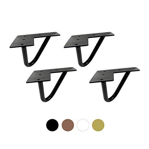 heimzeit Patas para mesas de Hierro [4 Unidades] - 10 cm - Color: Negro - Patas Horquilla para Muebles con Elegante diseño Industrial para Bricolaje - con Recubrimiento en Polvo