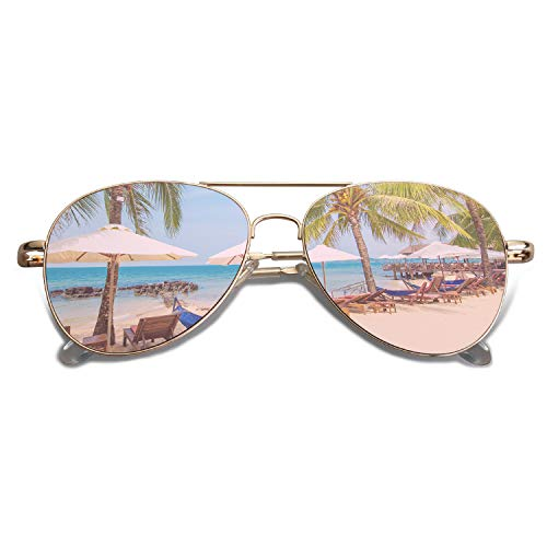 SOJOS Classic Aviator Mirrored Flat Lens Sunglasses Metal Frame with Spring Hinges SJ1030 with Gold Frame/Pink Mirrored Lens