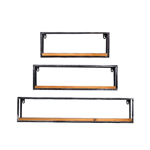 TRRE@ Paquet de 3 étagères de rangement de mur de mur de fer forgé, étagères en métal / étagères de décoration de fond de mur / étagères de livre pour le cadre de salle de séjour / Cadre d'unité flottante/Étagères murales Étagères murales