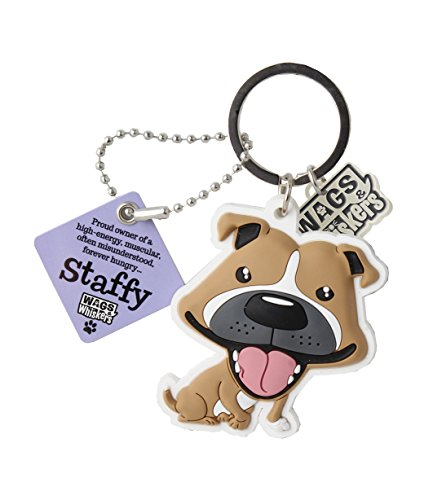 Wags and Whiskers Staffy (Brown) Key Chain with Keyring/Key Holder (886767110776)