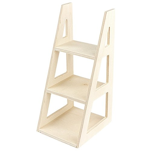 Mini estantería de madera con escalera, 16 cm x 7 cm x 8 cm, estantería para muñecas, estantería para pequeños artículos de decoración