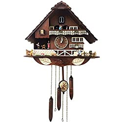 UHRKS German Black Forest Cuckoo Clock,Simulation Handmade Wooden Cuckoo House Creative Music European Vintage Antique Pastoral Quartz Luxurious Crafts Wall Clock