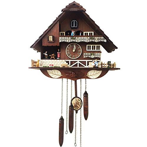 ZHAS Reloj de Cuco alemán de la Selva Negra, simulación Hecha a Mano Casa de Cuco de Madera Música Creativa Europeo Vintage Antiguo Cuarzo Reloj de Pared de artesanía Lujosa