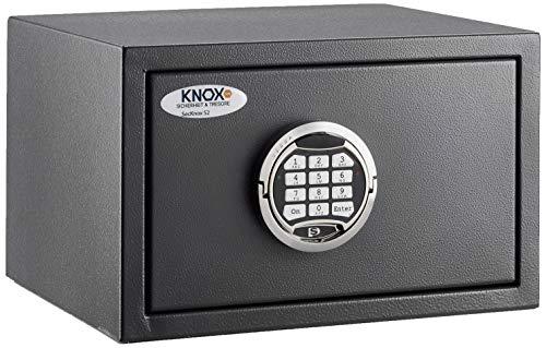 Knoxsafe Secknox1E S2 Tresor Safe elektronik Sicherheitsschloss Möbeltresor 220 x 350 x 300 mm, matt grauschwarz