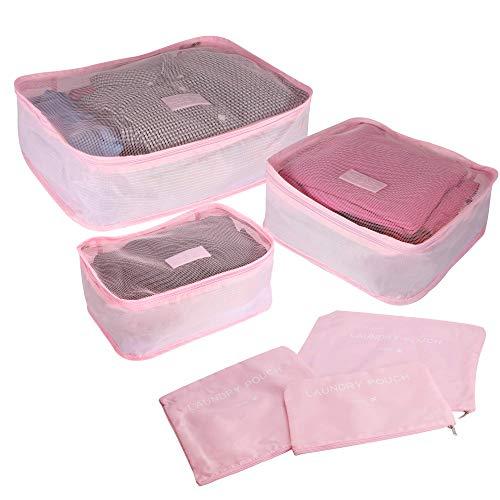 Atmungsaktive Reiseverpackungswürfel | Koffer Gepäck Rucksack Organisation | Platzsparende Ferienwürfel | Pukkr (Rosa)