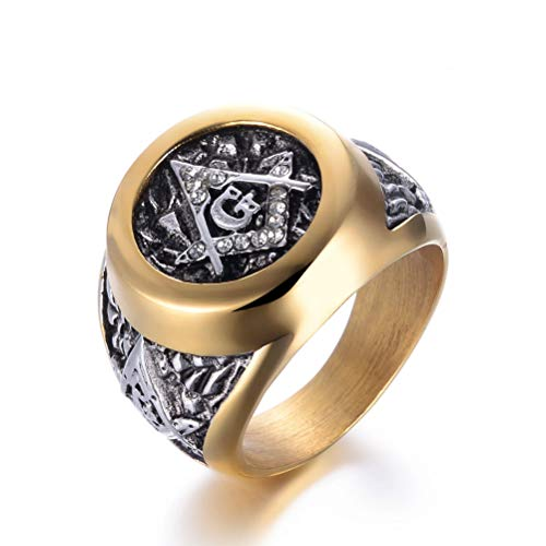 Feinny AG Masonic Freemason Pattern Gold Color Border Diamond Ring, Men's Stainless Steel Masons Symbol Church Belief Ring Birthday Gift Jewelry, Hip Hop Rock Party Prom Personality Punk Ring,11