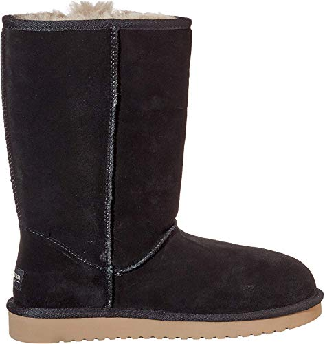 Fixed, decorative bows Exposed sheepskin Combination sheepskin/faux fur lining and insole Thinsulate sockliner Lightweight