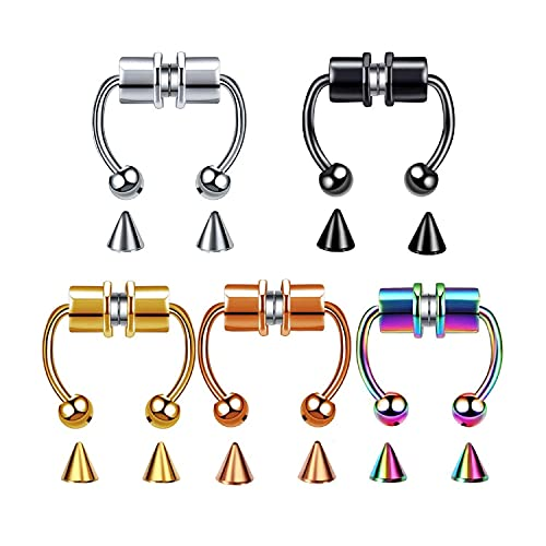 Fake Nose Ring Magnetic Horseshoe Non Piercing Hoop, Magnetic Septum Nose Ring, Reusable Magnetic Nose Ring, Non-Perforated Nose Ring Faux Septum Rings Clip