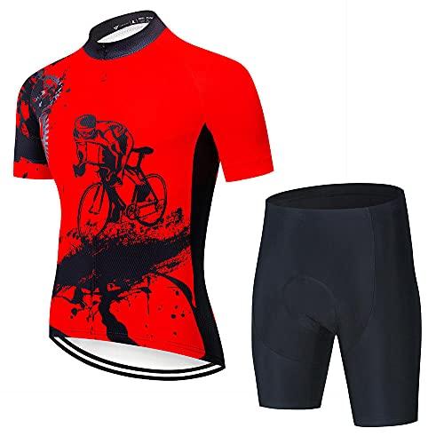 Maillots de Manga Corta para Bicicleta Ciclismo Ropa,Equipo profesional de bicicletas de manga corta, camiseta de ciclismo para hombre, ropa de ciclismo transpirable de verano, conjuntos-A13_L