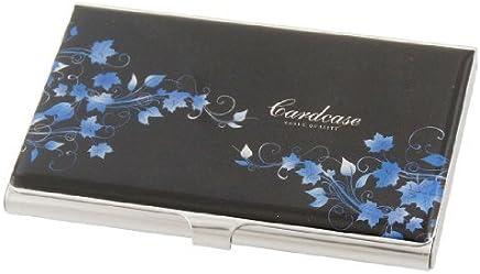 DealMux Schwarzer Hintergrund Blue Leaf Druck Horizontal Kredit Name ID-Kartenhalter-Box : B�robedarf & Schreibwaren