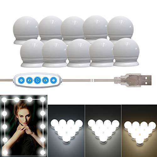 Klighten LED Luci trucco Dimmerabili, Luci a Specchio LED in Stile Hollywood con 10 Lampadine, 5 Livelli di Luminosità Luce Specchio per il Trucco, Lampade Trucco USB, bianco caldo / bianco freddo
