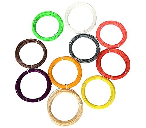 GYAM Filamento para Bolígrafo 3D, 1,75 Mm 5 M / 10 M Recarga De Filamento PCL para Bolígrafo 3D, 10/20 Colores, Materiales De Impresión 3D Regalos para Niños,5m 10 Colors