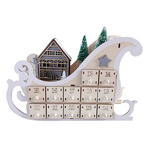 Sz ZSHENG® Baum Haus Schlitten Holz Adventskalender Countdown Weihnachtsfeier Dekor 24 Schubladen mit LED-Licht