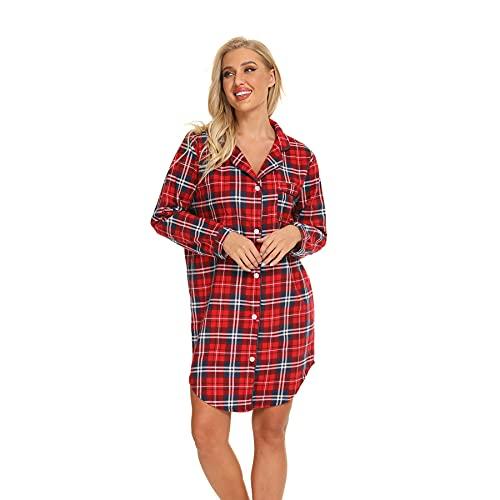 Misscoo Nachthemd Damen Langarm - Schlafhemd Button-Down Frauen Baumwoll Schlafhemd Langarm Nachthemd Flanell Nachthemd Plaid Rot M