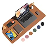 Eco Cork PU Leather Desk Pad,Dual Side Office Desk Mat,Ultra Thin Large Mouse Pad,Laptop Desk Table Protector,Waterproof Desk Writing Pad for Office Work/Home (Brown, 35.4'x17')