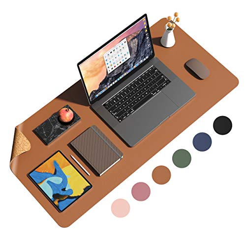 """Eco Cork PU Leather Desk Pad,Dual Side Office Desk Mat,Ultra Thin Large Mouse Pad,Laptop Desk Table Protector,Waterproof Desk Writing Pad for Office Work/Home (Brown, 35.4""""x17"""")"""