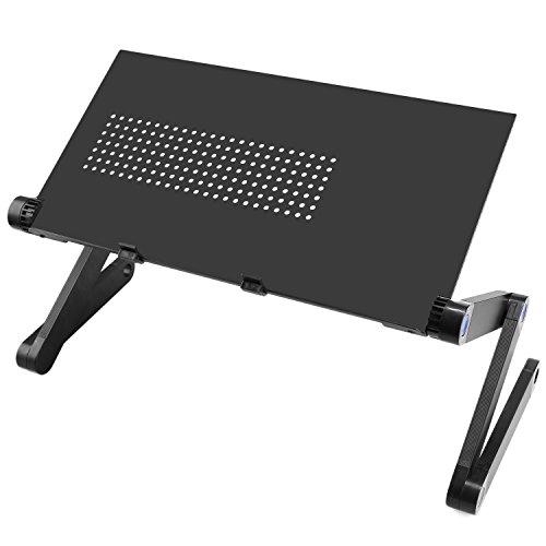 begorey supporto di computer portatile pieghevole regolabile ventilato per ufficio e domestica, Nero