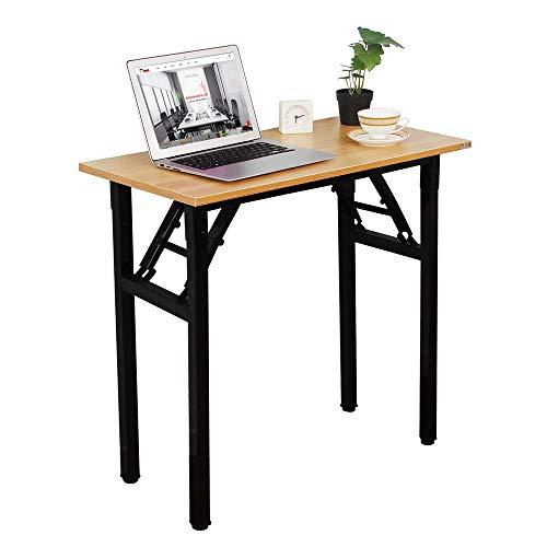 Need Mesa Plegable 80x40cm Mesa de Ordenador Escritorio de Oficina Mesa de Estudio Puesto de Trabajo Mesas de Recepción Talla Grande, Teca,AC5BB-8040