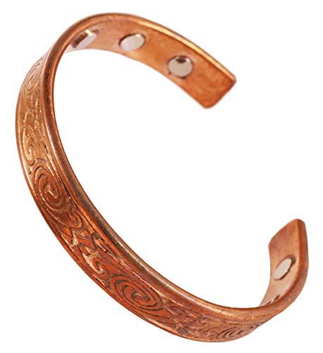 Touchstone - Pulsera magnética de cobre de estilo hindú, moldeada de forma preciosa con martillo, para meditación y mantra de la paz, para hombre y mujer.