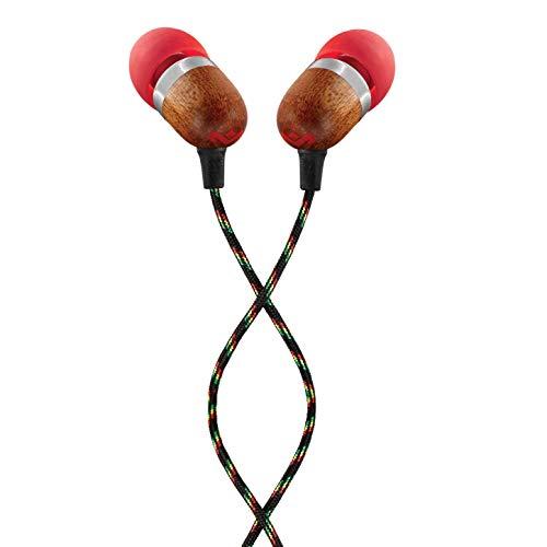 House of Marley Smile Jamaica In-Ear Kopfhörer, 1-Knopf Steuerung, Geräuschisolierung, 9,2mm Treiber, Mikrofon, Gelaufsätze in 2 verschiedenen Größen, verwicklungsfreies Kabel, Fire