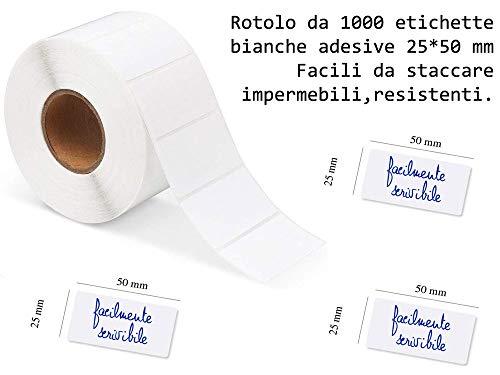 1000 ETICHETTE ADESIVE BIANCHE 50 X 25 MM SU ROTOLO, MULTIUSO, UTILI IN CANCELLERIA, CONGELATORE, CORRISPONDENZA, DISPENSA - ULTRA RESISTENTI - PRODOTTI IN ITALIA - MARCA GICAPRICE