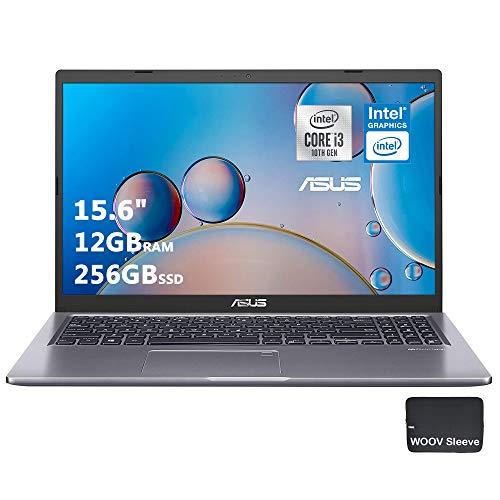 "ASUS VivoBook Thin and Light Laptop   15.6"" FHD Display   10th Gen Intel Core i3-1005G1   12GB DDR4 RAM, 256GB PCIE SSD, Backlit, Bundled with Woov Sleeve, Fingerprint, Windows 10 Home S, Grey…"