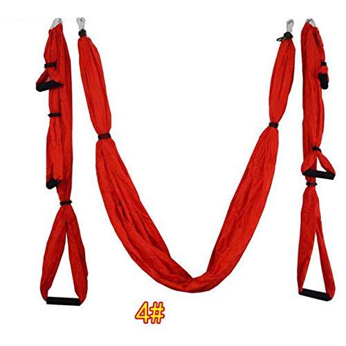 LIANQI 6 Asas Anti-Gravedad Yoga Hamaca Columpio Paracaídas Yoga Gimnasio Colgando Hamaca de descompresión de Ocio al Aire Libre - 4# Rojo